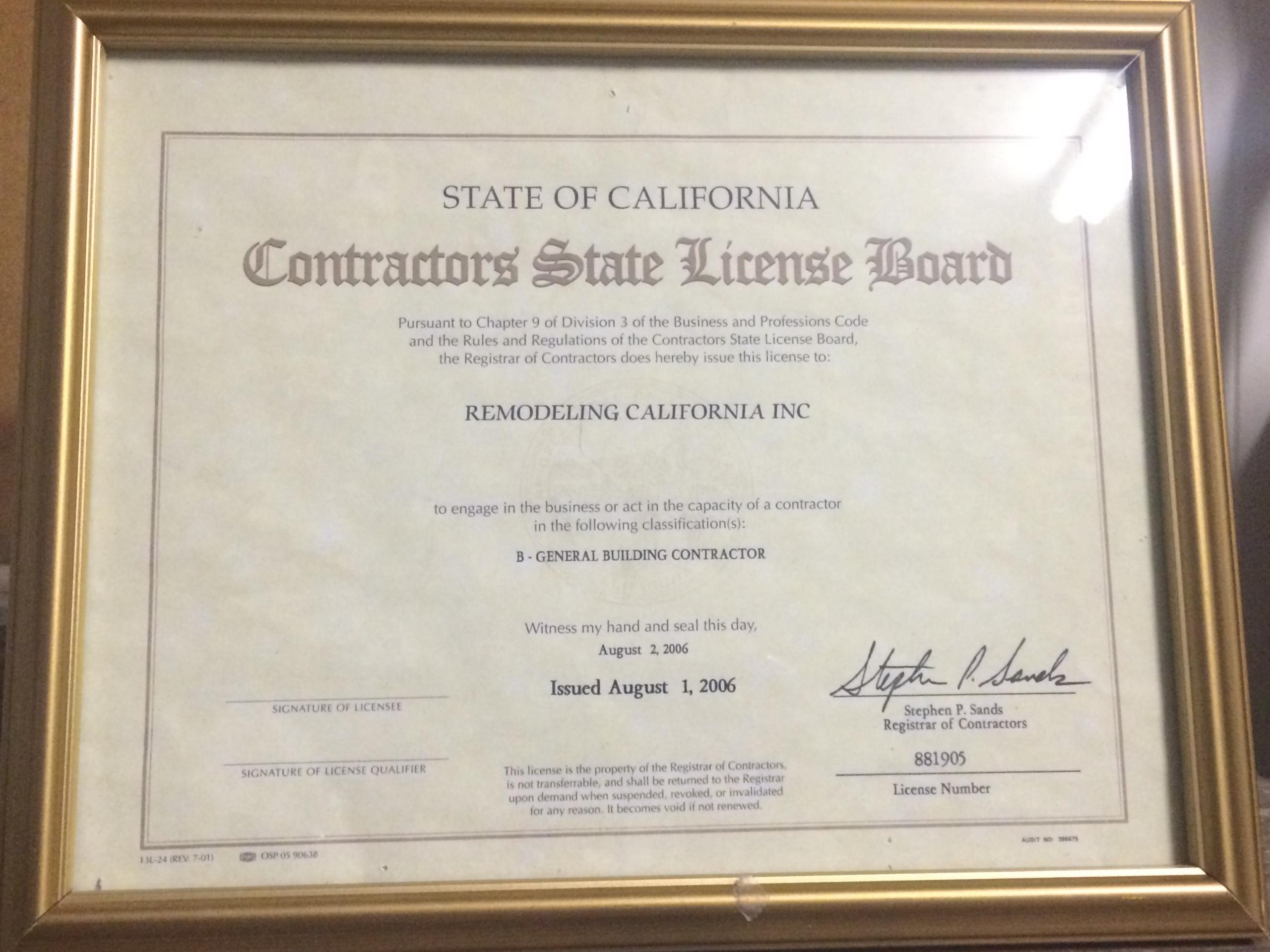 Los Angeles Construction License And Bond Remodeling California